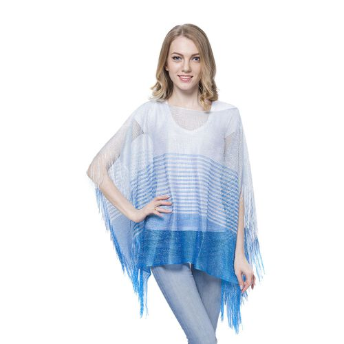 Blue Colour Stripe Pattern Poncho (Size 90x55 Cm) and White Colour Vest (Size 60x55 Cm)