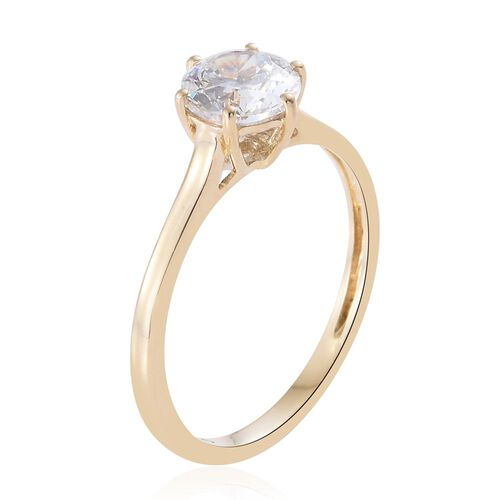 J Francis - 9K Y Gold (Rnd) Solitaire Ring Made with SWAROVSKI ZIRCONIA