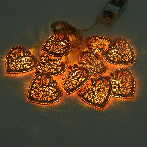 Set of 10 - Rose Colour Heart LED String Lights