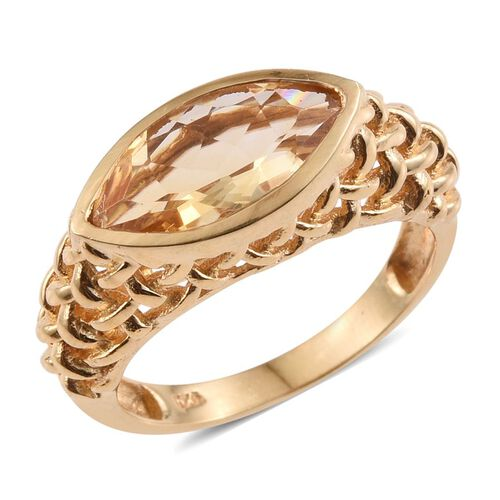 Citrine (Mrq) Solitaire Ring in 14K Gold Overlay Sterling Silver 2.000 Ct.