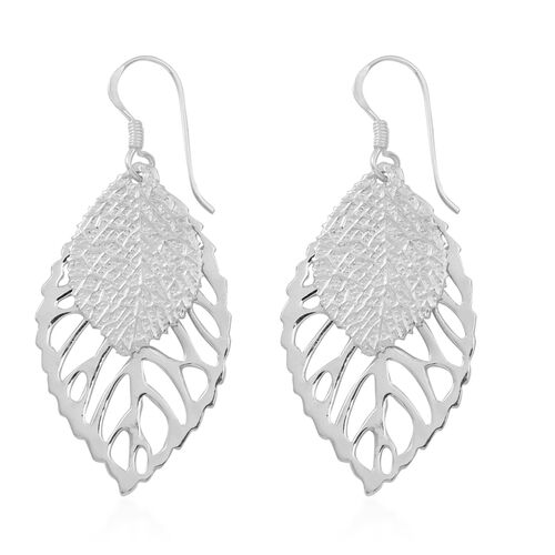 Thai Sterling Silver Leaf Hook Earrings, Silver wt 5.41 Gms.