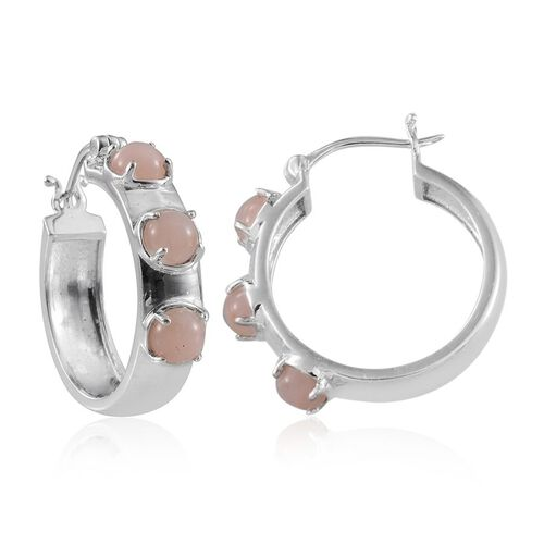 Peruvian Pink Opal (Rnd) Hoop Earrings in Platinum Overlay Sterling Silver 3.000 Ct.