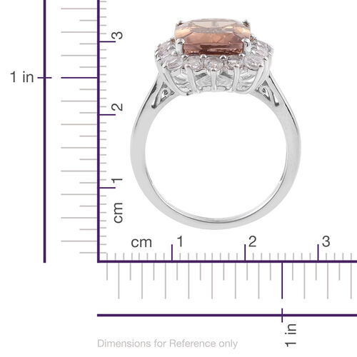 Limited Edition - Anahi Ametrine (Cush 7.05 Ct), White Topaz Ring in Platinum Overlay Sterling Silver 8.500 Ct.