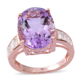 Rose De France Amethyst (Oval 11.45 Ct), Natural White Cambodian Zircon Ring in Rose Gold Overlay Sterling Silver 12.650 Ct. Silver wt 5.28 Gms.