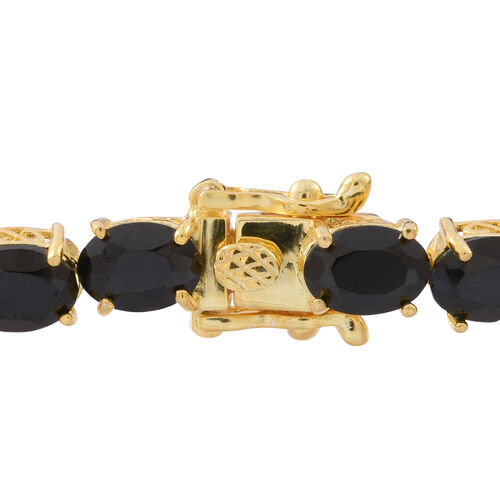 Boi Ploi Black Spinel (Ovl) Bracelet (Size 7) in 14K Gold Overlay Sterling Silver 26.000 Ct. Silver wt 8.90 Gms.