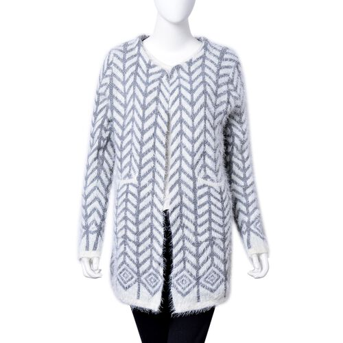 Italian Designer Inspired- Grey and White Colour Chevron Pattern Knitted Apparel with Pockets (Size 78X52 Cm)