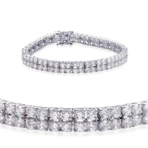 J Francis - Platinum Overlay Sterling Silver (Rnd) Bracelet Made with SWAROVSKI ZIRCONIA (Size 7.5) 13.200 Ct.
