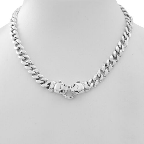 JCK Vegas Collection Sterling Silver Leopard Heads Curb Necklace (Size 17), Silver wt. 43.00 Gms.