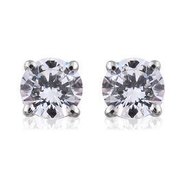 J Francis - 9K White Gold Stud Earrings (with Push Back) Made with SWAROVSKI ZIRCONIA
