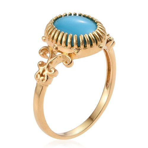 Arizona Sleeping Beauty Turquoise (Ovl) Solitaire Ring in 14K Gold Overlay Sterling Silver 2.750 Ct.