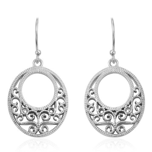 Designer Inspired-Rhodium Plated Sterling Silver Filigree Hook Earrings