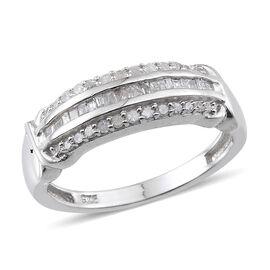 Diamond (Bgt) Ring in Platinum Overlay Sterling Silver 0.180 Ct.