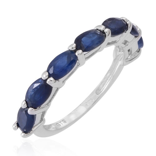 Kanchanaburi Blue Sapphire (Ovl) 7 Stone Ring in Rhodium Plated Sterling Silver 2.250 Ct.