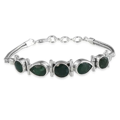 Emerald (Colour Enhanced) Bracelet (Size 7.5 to 8.5 Inch) in Sterling Silver 12.730 Ct.