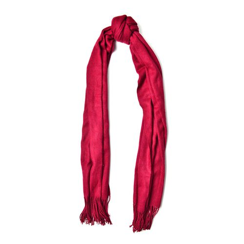 Burgundy Colour Scarf with Handcrafted Tassels (Size 180x70 Cm)
