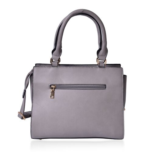 Set of 2 - Grey Colour Large Handbag with Adjustable Shoulder Strap and Small Handbag (Size 33.5x29.5x12.5 Cm, 19.5x10 Cm)