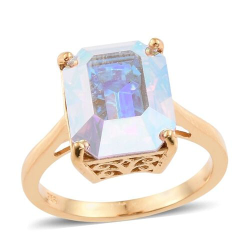 Crystal from Swarovski - Aurore Boreales Crystal (Oct) Solitaire Ring in 14K Gold Overlay Sterling Silver