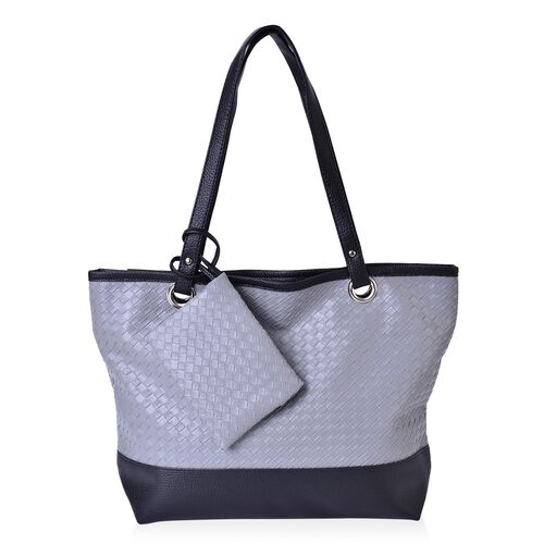 Set of 2 - Grey and Black Colour Net Pattern Handbag (Size 42x33x30x11.5 Cm) and Pouch (Size 15x12 Cm)