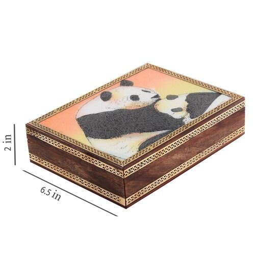 Handcrafted Wooden Gemstone Jewellery Box with Panda Painting on Top (Size 21x16x5 Cm)