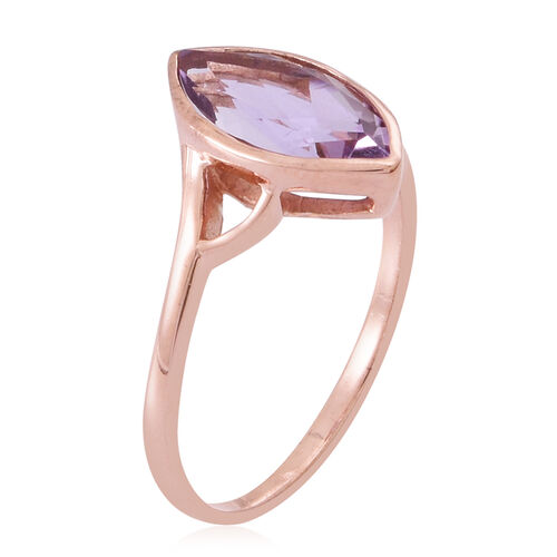 Rose De France Amethyst (Mrq) Solitaire Ring in 14K Rose Gold Overlay Sterling Silver 2.500 Ct.