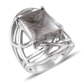 Meteorite (Bgt) Ring in Platinum Overlay Sterling Silver 17.750 Ct.