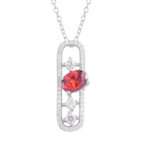 ELANZA AAA Simulated Garnet (Ovl), Simulated White Diamond Pendant With Chain in Rhodium Plated Sterling Silver