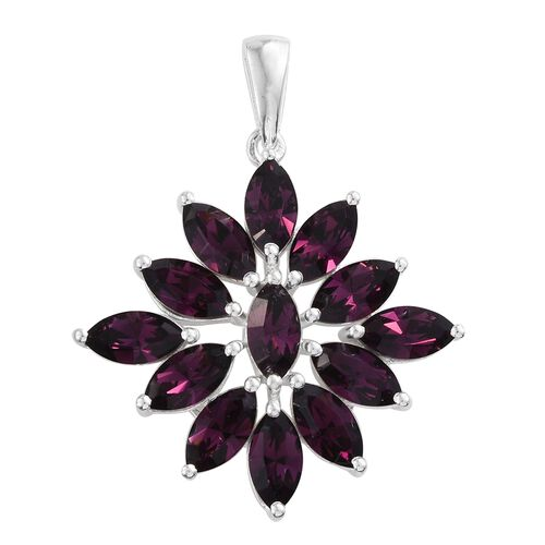 J Francis Crystal from Swarovski - Amethyst Colour Crystal (Mrq) Pendant in Sterling Silver