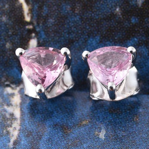 9K White Gold 1 Carat AA Pink Sapphire Trillion Solitaire Stud Earrings (with Push Back)