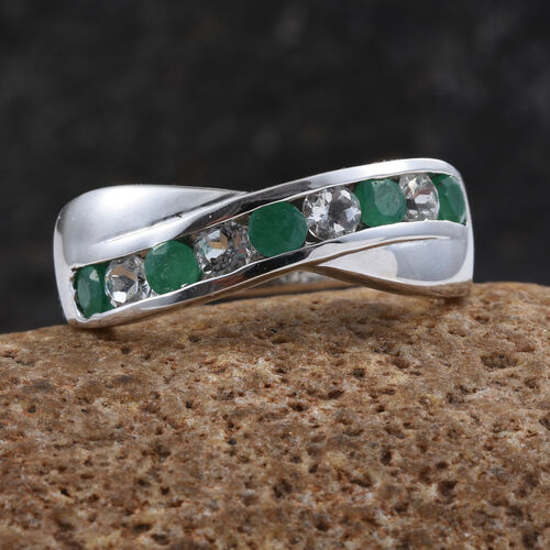 Zambian Emerald, White Topaz 1 Carat Silver Criss Cross Ring in Platinum Overlay