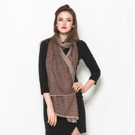 88% Merino Wool and 12% Silk Chocolate Colour Scarf (Size 200x70 Cm)