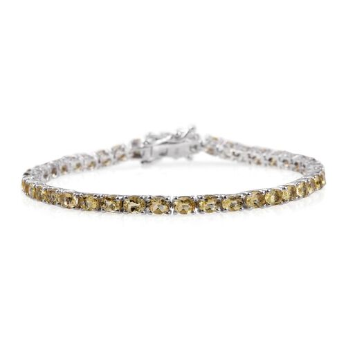 Marialite (Ovl) Tennis Bracelet (Size 7) in Platinum Overlay Sterling Silver 7.000 Ct.