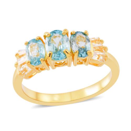 Ratanakiri Blue Zircon (Ovl), White Topaz Ring in 14K Gold Overlay Sterling Silver 2.750 Ct.