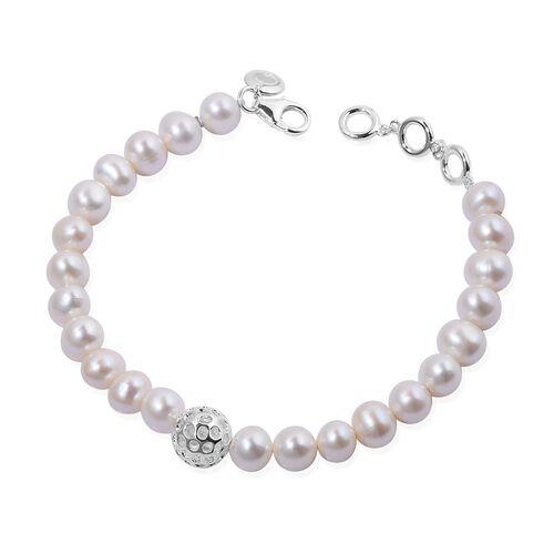 RACHEL GALLEY Fresh Water Pearl (Rnd) Bracelet (Size 8) in Sterling Silver