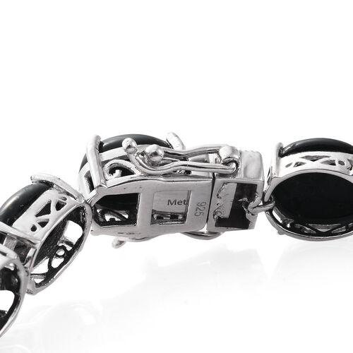 Shungite (Ovl) Bracelet (Size 7.75) in Platinum Overlay Sterling Silver 50.000 Ct. Silver wt 12.34 Gms.