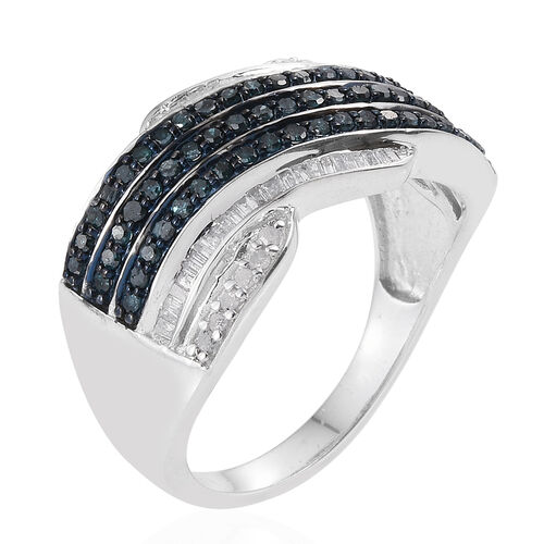White Diamond (Bgt), Blue Diamond Ring in Platinum Overlay Sterling Silver 1.000 Ct.