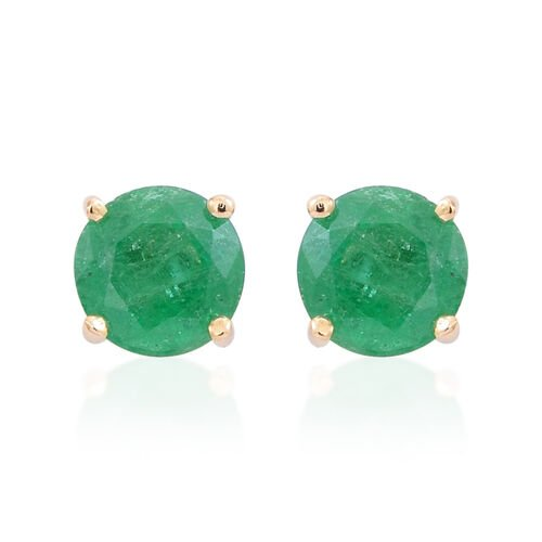 9K Y Gold AAA Kagem Zambian Emerald (Rnd) Stud Earrings (with Push Back) 1.000 Ct.