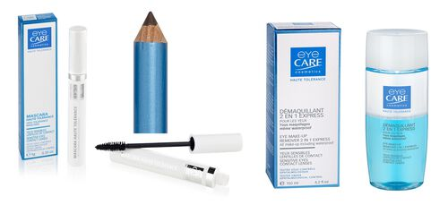 Eyecare Cosmetics- High tolerance macara brown, eyeliner pencil brown, 2 in 1 express eye makeup remover