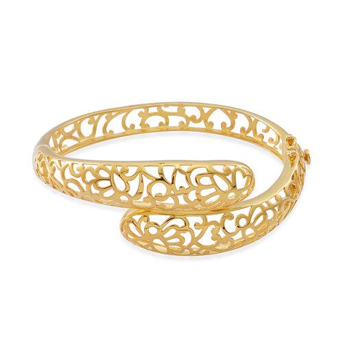 Designer Inspired 14K Gold Overlay Sterling Silver Bangle (Size 7.5), Silver wt 21.30 Gms.