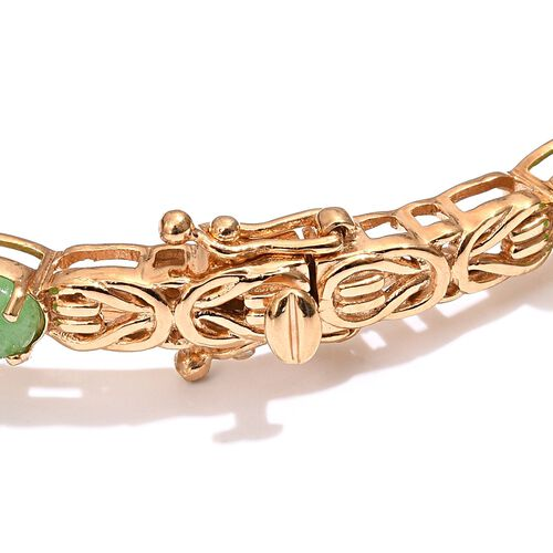Green Jade (Ovl) Bangle (Size 7.5) in 14K Gold Overlay Sterling Silver 5.500 Ct.