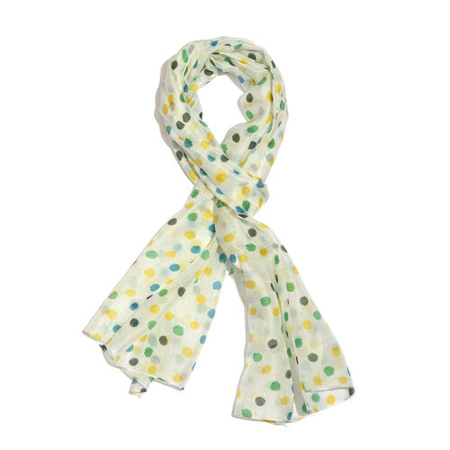 100% Mulberry Silk Multi Colour Swiss Dotted White Colour Scarf (Size 180x50 Cm)
