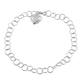 Sterling Silver Round Link Anklet (Size 10) with Heart Charm, Silver wt 4.00 Gms.
