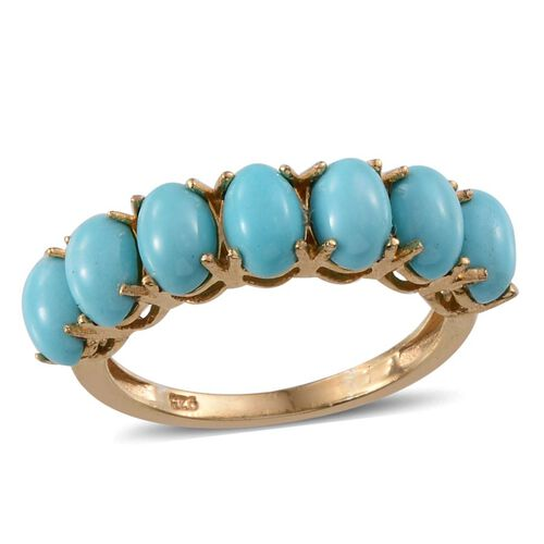 Arizona Sleeping Beauty Turquoise (Ovl) 7 Stone Ring in 14K Gold Overlay Sterling Silver 3.500 Ct.