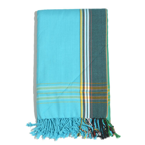 100% Cotton (Front) and 100% Polyester (Back) Turquoise with Blue Border Kikoy Towel (Size 160x90 Cm) with a Concealed Pocket
