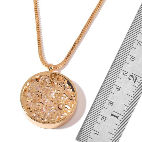 AAA Simulated White Diamond Pendant With Chain in Gold Tone
