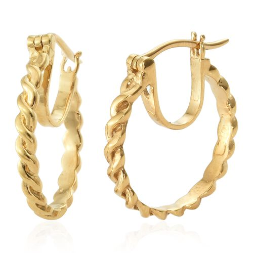 14K Gold Overlay Sterling Silver Hoop Earrings (with Clasp), Silver wt 3.99 Gms.