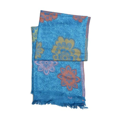 Designer Inspired Multi Colour Flowers Embroidered Blue Colour Scarf (Size 190x65 Cm)