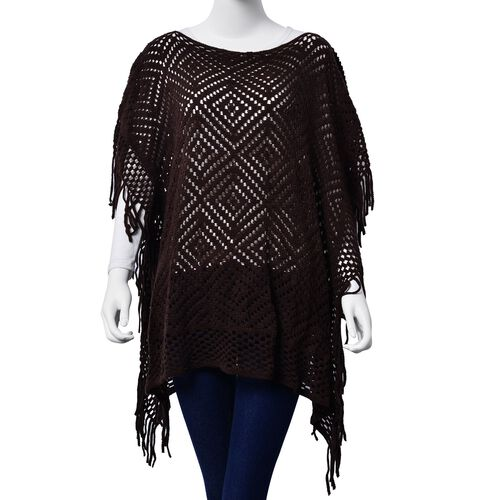 Diamond Pattern Chocolate Colour Poncho with Tassels (Size 80x70 Cm)