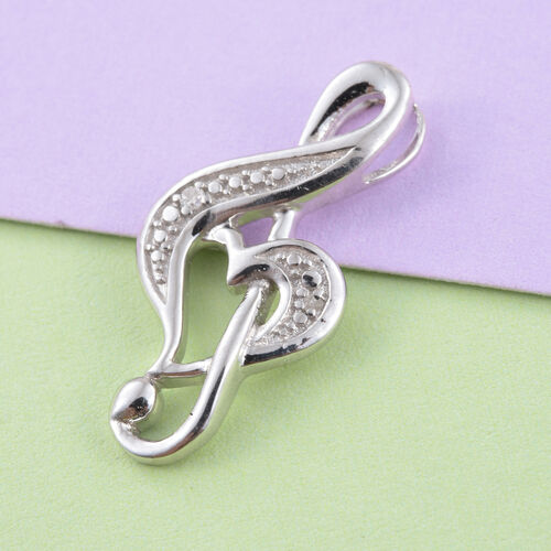 Treble Clef Diamond (Rnd) Pendant in Platinum Overlay Sterling Silver