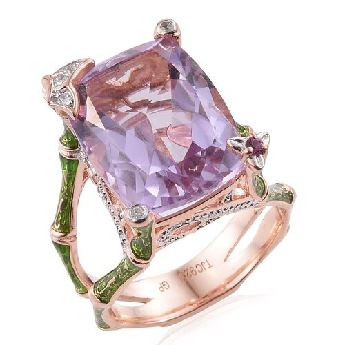 GP Rose De France Amethyst (Cush 11.16 Ct), Rhodolite Garnet Natural Cambodian Zircon and Kanchanaburi Blue Sapphire Ring in Rose Gold Overlay Sterling Silver 11.250 Ct.