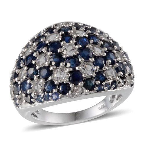 Kanchanaburi Blue Sapphire (Rnd), White Topaz Cluster Ring in Platinum Overlay Sterling Silver 6.500 Ct.